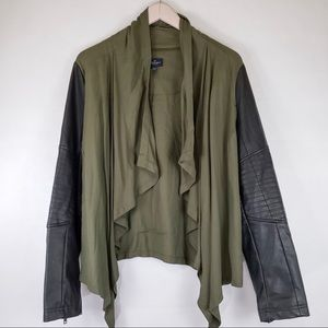 AEO Open Olive Faux Leather Utility Jacket